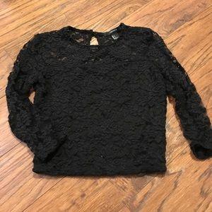 Black Lace Crop 3/4 Shirt